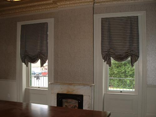 Window Treatment Modern London Shades Horizontal Striped Fabric In Savings And Loan Conference Room